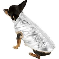 Fab Dog Metallic Puffer Dog Jacket, 8-in, Silver