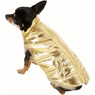 Fab Dog Metallic Puffer Dog Jacket, 8-in, Gold