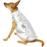 Fab Dog Metallic Puffer Dog Jacket, 14-in, Silver
