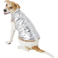 Fab Dog Metallic Puffer Dog Jacket, 16-in, Silver