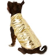 Fab Dog Metallic Puffer Dog Jacket, 18-in, Gold