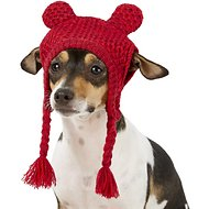 Pup Crew Red Bear Ears Knit Dog Hat, X-Small/Small