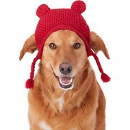 Pup Crew Red Bear Ears Knit Dog Hat, Medium/Large