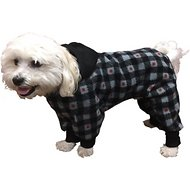 Ultra Paws SnoJam Buffalo Print Dog Pajamas, Medium, Grey & Red