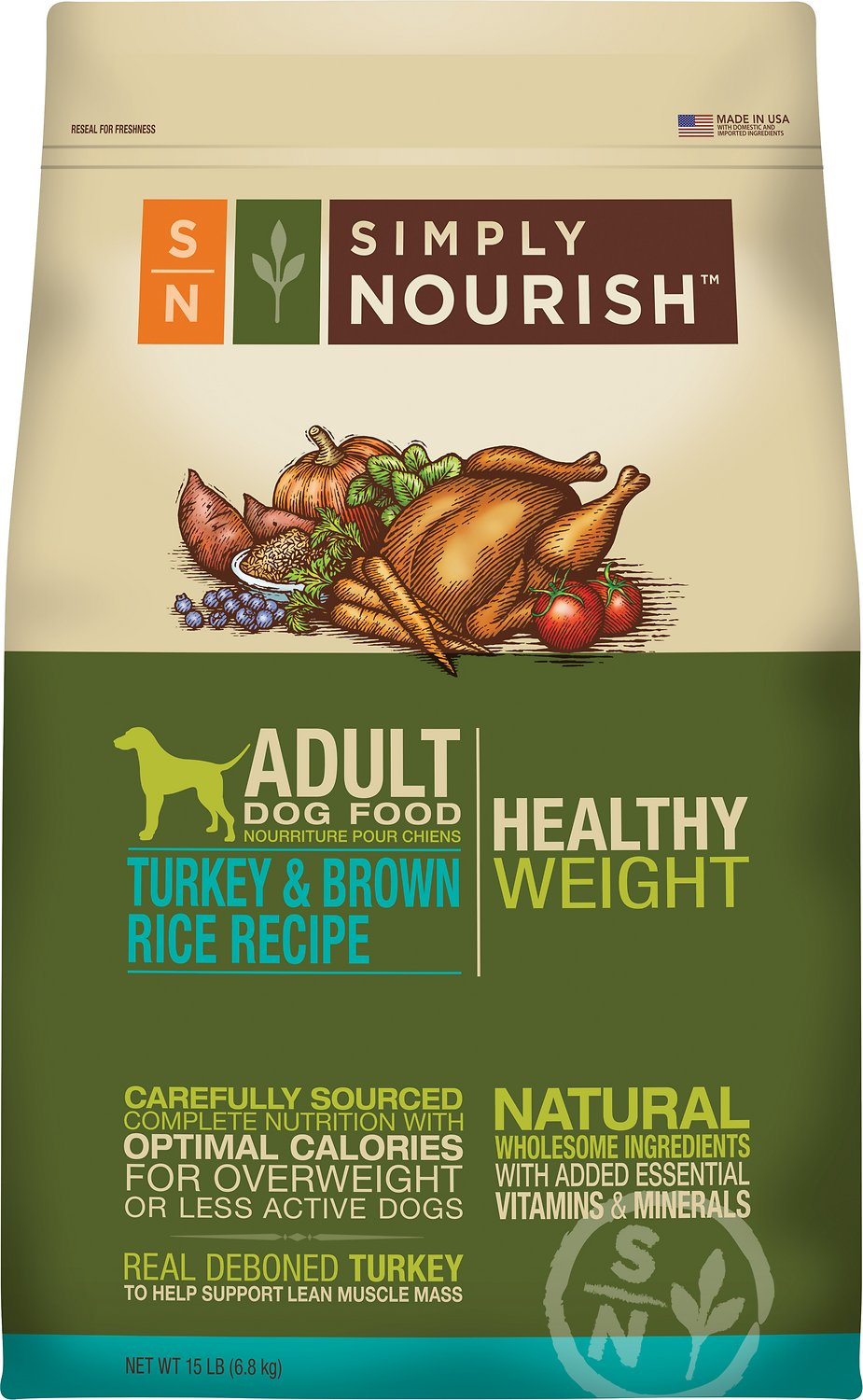 Simply Nourish Skin Coat Healthy Weight Turkey Brown Rice Recipe Adult Dry 925x1500