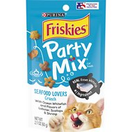 Friskies Party Mix Seafood Lovers Crunch Cat Treats, 2.1-oz pouch