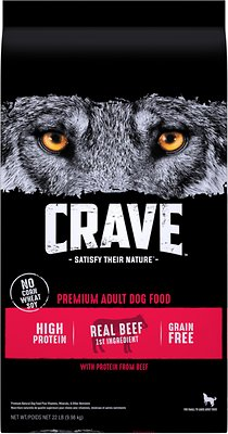 1. Crave High Protein Beef Adult Grain-Free Dry Dog Food
