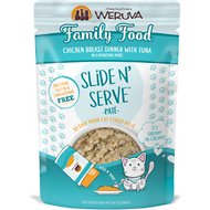 Weruva Slide N' Serve Family Food Chicken Breast Dinner with Tuna Pate Grain-Free Cat Food Pouches, 2.8-oz pouch, case of 12