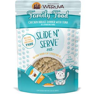 Weruva Slide N\\\' Serve Family Food Chicken Breast Dinner with Tuna Pate Grain-Free Cat Food Pouches, 2.8-oz pouch, case of 12; Do pate the right way with Weruva Slide N' Serve Family Food Chicken Breast Dinner with Tuna. Each recyclable pouch holds a complete and balanced meal of pate made with savory chicken broth, chicken and tuna as the top three ingredients. Plus, every pet parent will enjoy Weruva's convenient Slide N' Serve packaging—simply open the pouch, slide the food out and prepare to your cat's purr-eference. Best of all, every Slide N' Serve recipe is grain-free, gluten-free and carrageenan-free, so you can feed your cat with complete confidence!