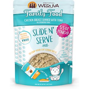 Weruva Slide N\\\' Serve Family Food Chicken Breast Dinner with Tuna Pate Grain-Free Cat Food Pouches, 5.5-oz pouch, case of 12; Do pate the right way with Weruva Slide N' Serve Family Food Chicken Breast Dinner with Tuna. Each recyclable pouch holds a complete and balanced meal of pate made with savory chicken broth, chicken and tuna as the top three ingredients. Plus, every pet parent will enjoy Weruva's convenient Slide N' Serve packaging—simply open the pouch, slide the food out and prepare to your cat's purr-eference. Best of all, every Slide N' Serve recipe is grain-free, gluten-free and carrageenan-free, so you can feed your cat with complete confidence!