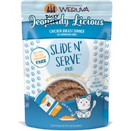 Weruva Slide N' Serve Jeopurrdy Licious Chicken Dinner Pate Grain-Free Cat Food Pouches, 2.8-oz pouch, case of 12