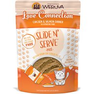 Weruva Slide N' Serve Love Connection Chicken & Salmon Dinner Pate Grain-Free Cat Food Pouches, 2.8-oz pouch, case of 12