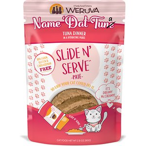 Weruva Slide N\\\' Serve Name \\\'Dat Tuna Tuna Dinner Pate Grain-Free Cat Food Pouches, 2.8-oz pouch, case of 12; Make your cat's taste buds dance with Weruva Slide N' Serve Name 'Dat Tuna Tuna Dinner Pate. Each recyclable pouch holds a complete and balanced meal of pate made with savory fish broth and tuna as the top ingredients. Plus, every pet parent will enjoy Weruva's convenient Slide N' Serve packaging—simply open the pouch, slide the food out and prepare to your cat's purr-eference. Best of all, every Slide N' Serve recipe is grain-free, gluten-free and carrageenan-free, so you can feed your cat with complete confidence.