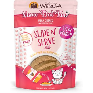 Weruva Slide N\\\' Serve Name \\\'Dat Tuna Tuna Dinner Pate Grain-Free Cat Food Pouches, 5.5-oz pouch, case of 12; Make your cat's taste buds dance with Weruva Slide N' Serve Name 'Dat Tuna Tuna Dinner Pate. Each recyclable pouch holds a complete and balanced meal of pate made with savory fish broth and tuna as the top ingredients. Plus, every pet parent will enjoy Weruva's convenient Slide N' Serve packaging—simply open the pouch, slide the food out and prepare to your cat's purr-eference. Best of all, every Slide N' Serve recipe is grain-free, gluten-free and carrageenan-free, so you can feed your cat with complete confidence.