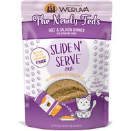 Weruva Slide N' Serve The Newly Feds Beef & Salmon Dinner Pate Grain-Free Cat Food Pouches, 2.8-oz pouch, case of 12