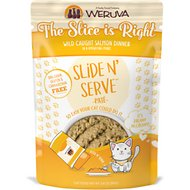 Weruva Slide N' Serve The Slice is Right Wild Caught Salmon Dinner Pate Grain-Free Cat Food Pouches, 2.8-oz pouch, case of 12