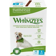 WHIMZEES Stix 30 Day Dental Dog Treats, 30 count, Small