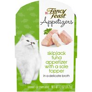 Fancy Feast Appetizers Skipjack Tuna with a Sole Topper Cat Treats, 1.1-oz tray, case of 10