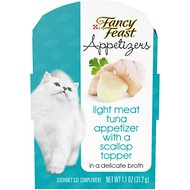 Fancy Feast Appetizers Light Meat Tuna with a Scallop Topper Cat Treats, 1.1-oz tray, case of 10