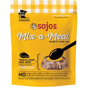Sojos Mix-A-Meal Beef Grain-Free Freeze-Dried Dog Food Topper