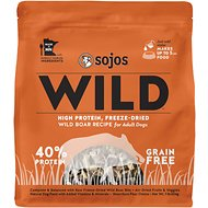 Sojos Wild Boar Recipe Adult Grain-Free Freeze-Dried Dog Food, 1-lb bag