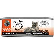 Dave's Pet Food Cat's Meow 95% Turkey & Turkey Liver Canned Cat Food, 5.5-oz, case of 24