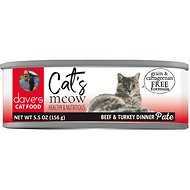 Dave's Pet Food Cat's Meow Beef with Turkey Dinner Canned Cat Food, 5.5-oz, case of 24