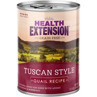 Health Extension Grain-Free Tuscan Style Quail Recipe Canned Dog Food, 12.5-oz, case of 12