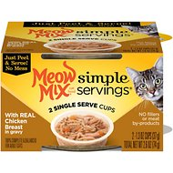 Meow Mix Simple Servings With Real Chicken Breast In Gravy Cat Food Trays, 1.3-oz, case of 24