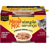 Meow Mix Simple Servings With Real Chicken And Beef In Gravy Cat Food Trays, 1.3-oz, case of 24