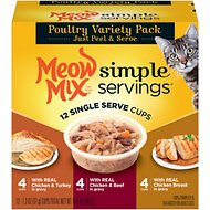 Meow Mix Simple Servings Poultry Variety Pack Cat Food Trays, 1.3-oz, case of 12