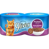 9 Lives Protein Plus with Tuna and Liver Canned Cat Food, 5.5-oz, case of 24