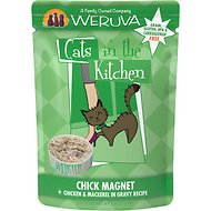 Weruva Cats in the Kitchen Chick Magnet Chicken & Mackerel Recipe Grain-Free Cat Food Pouches, 3-oz pouch, case of 12