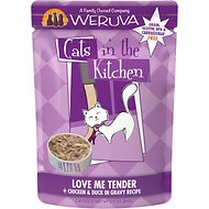 Weruva Cats in the Kitchen Love Me Tender Chicken & Duck Recipe Grain-Free Cat Food Pouches, 3-oz pouch, case of 12