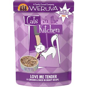 Weruva Cats in the Kitchen Love Me Tender Chicken & Duck Recipe Grain-Free Cat Food Pouches, 3-oz pouch, case of 12; Your kitty loves hanging out in the kitchen, so give him the home-cooked flavor he craves with the Weruva Cats in the Kitchen Love Me Tender Chicken & Duck Recipe Grain-Free Cat Food Pouches. Made with chicken and duck as the top ingredients, every bite is loaded with the meat your little carnivore craves, and all the protein he needs for healthy muscles. Since it's formulated with a perfectly-balanced blend of vitamins, minerals and heart-healthy taurine, every easy-open pouch is actually a complete meal—on its own or as a tasty kibble topper. Tear one open, serve up and bring on all that quality time in the kitchen!