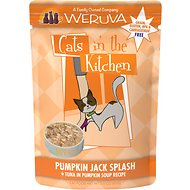 Weruva Cats in the Kitchen Pumpkin Jack Splash Tuna in Pumpkin Soup Grain-Free Cat Food Pouches, 3-oz pouch, case of 12