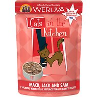 Weruva Cats in the Kitchen Mack, Jack & Sam Salmon, Mackerel & Tuna Recipe Grain-Free Cat Food Pouches, 3-oz pouch, case of 12