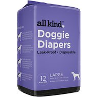 All Kind Disposable Female Dog Diapers, Large, 12 count