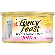 Fancy Feast Kitten Tender Salmon Feast Canned Cat Food, 3-oz, case of 24