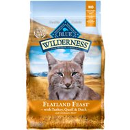 Blue Buffalo Wilderness Flatland Feast with Turkey, Quail & Duck Grain-Free Dry Cat Food, 4-lb bag