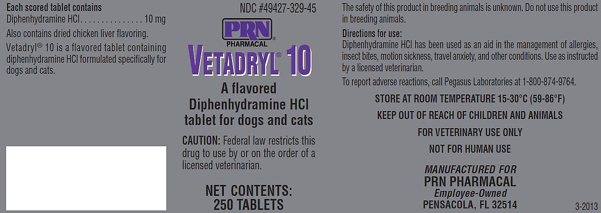 Vetadryl (Diphenhydramine HCl) Tablets for Dogs & Cats, 10-mg, 30 count