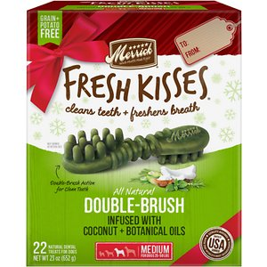 Merrick Fresh Kisses Holiday Double-Brush Coconut + Botanical Oils Dental Dog Treats, Medium, 22 count; Enjoy sweet kisses from your pup this holiday season with Merrick Fresh Kisses Holiday Double-Brush Coconut + Botanical Oils Dental Dog Treats! These unique, brush-shaped chews are the perfect way for your pal to welcome guests this holiday season—with fresh-smelling kisses that won\\\'t put him on the naughty list. The special blend of coconut, peppermint, lemongrass and rosemary oils will help keep his breath smelling fresh, while the double-brush design helps to fight plaque and tartar. These tasty treats are designed to be easily digestible, with natural peas, tapioca and gelatin. Best of all, the yummy chews are made right here in the USA without potatoes, grains, corn or soy, plus absolutely no artificial flavors, colors, or preservatives. So, go ahead! Let your cutest family member greet your house guests this season. With Fresh Kisses, you\\\'ve got freshness on your side.