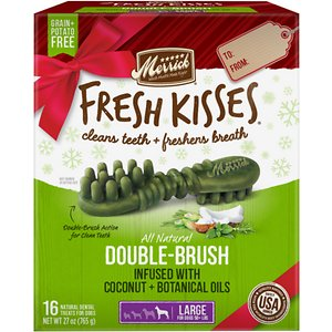 Merrick Fresh Kisses Holiday Double-Brush Coconut + Botanical Oils Dental Dog Treats, Large,16 count; Enjoy sweet kisses from your pup this holiday season with Merrick Fresh Kisses Holiday Double-Brush Coconut + Botanical Oils Dental Dog Treats! These unique, brush-shaped chews are the perfect way for your pal to welcome guests this holiday season—with fresh-smelling kisses that won\\\'t put him on the naughty list. The special blend of coconut, peppermint, lemongrass and rosemary oils will help keep his breath smelling fresh, while the double-brush design helps to fight plaque and tartar. These tasty treats are designed to be easily digestible, with natural peas, tapioca and gelatin. Best of all, the yummy chews are made right here in the USA without potatoes, grains, corn or soy, plus absolutely no artificial flavors, colors, or preservatives. So, go ahead! Let your cutest family member greet your house guests this season. With Fresh Kisses, you\\\'ve got freshness on your side.