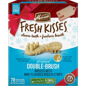 Merrick Fresh Kisses Holiday Double-Brush Mint-Flavored Dental Dog Treats, X-Small, 78 count; Enjoy sweet kisses from your pup this holiday season with Merrick Fresh Kisses Holiday Double-Brush Mint-Flavored Dental Dog Treats! These unique, brush-shaped chews are the perfect way for your pal to welcome guests this holiday season—with fresh-smelling kisses that won\\\'t put him on the naughty list. The special blend of coconut, peppermint, lemongrass and rosemary oils will help keep his breath smelling fresh, while the double-brush design helps to fight plaque and tartar. These tasty treats are designed to be easily digestible, with natural peas, tapioca and gelatin. Best of all, the yummy chews are made right here in the USA without potatoes, grains, corn or soy, plus absolutely no artificial flavors, colors, or preservatives. So, go ahead! Let your cutest family member greet your house guests this season. With Fresh Kisses, you\\\'ve got freshness on your side.