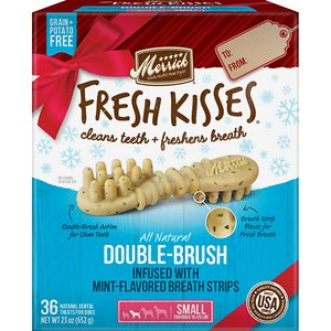 Merrick Fresh Kisses Holiday Double-Brush Mint-Flavored Dental Dog Treats, Small, 36 count; Enjoy sweet kisses from your pup this holiday season with Merrick Fresh Kisses Holiday Double-Brush Mint-Flavored Dental Dog Treats! These unique, brush-shaped chews are the perfect way for your pal to welcome guests this holiday season—with fresh-smelling kisses that won\\\'t put him on the naughty list. The special blend of coconut, peppermint, lemongrass and rosemary oils will help keep his breath smelling fresh, while the double-brush design helps to fight plaque and tartar. These tasty treats are designed to be easily digestible, with natural peas, tapioca and gelatin. Best of all, the yummy chews are made right here in the USA without potatoes, grains, corn or soy, plus absolutely no artificial flavors, colors, or preservatives. So, go ahead! Let your cutest family member greet your house guests this season. With Fresh Kisses, you\\\'ve got freshness on your side.