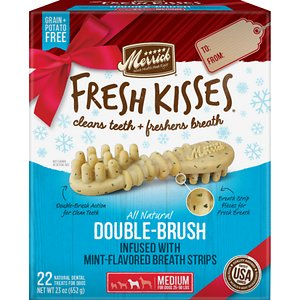 Merrick Fresh Kisses Holiday Double-Brush Mint-Flavored Dental Dog Treats, Medium, 22 count; Enjoy sweet kisses from your pup this holiday season with Merrick Fresh Kisses Holiday Double-Brush Mint-Flavored Dental Dog Treats! These unique, brush-shaped chews are the perfect way for your pal to welcome guests this holiday season—with fresh-smelling kisses that won\\\'t put him on the naughty list. The special blend of coconut, peppermint, lemongrass and rosemary oils will help keep his breath smelling fresh, while the double-brush design helps to fight plaque and tartar. These tasty treats are designed to be easily digestible, with natural peas, tapioca and gelatin. Best of all, the yummy chews are made right here in the USA without potatoes, grains, corn or soy, plus absolutely no artificial flavors, colors, or preservatives. So, go ahead! Let your cutest family member greet your house guests this season. With Fresh Kisses, you\\\'ve got freshness on your side.