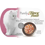Fancy Feast Purely Wild Alaskan Salmon & White Meat Chicken Entree Wet Cat Food, 2-oz tray, case of 10
