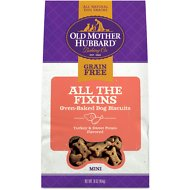 Old Mother Hubbard Mini All The Fixins Grain-Free Biscuits Baked Dog Treats, 16-oz bag