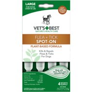 Vet's Best Flea & Tick Spot-on Drops Topical Treatment for Dogs, Large (Over 40 lbs)