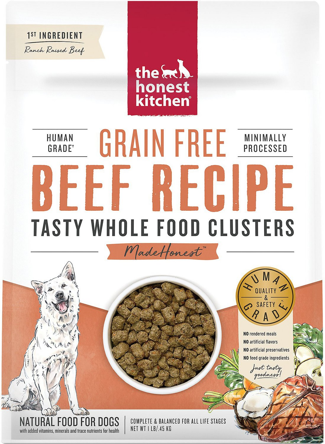The Honest Kitchen Grain Free Beef Whole Food Clusters Dry Dog Food 1 Lb Bag